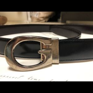 GUCCI Leather Reversible Silver G Buckle Belt Sz38